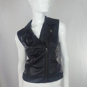 TopShop Faux leather black moto vest 8